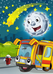 Cartoon scene with happy moon or meteorite and shooting star by night talking with happy bus - illustration for children