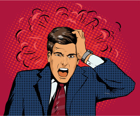 Businessman in panic of the financial crisis or business failure. Vector illustration in pop art retro style