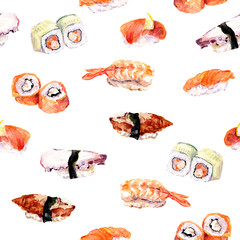 Sushi, roll repeat seamless food pattern. Watercolor