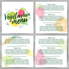 Template design menus, brochures, flyers Vegetarian menu. Logo, icon vegetarian, healthy menu with the decor of a green, farm food. Symbol menu with berry, fruit and herb. Modern style. Vector.