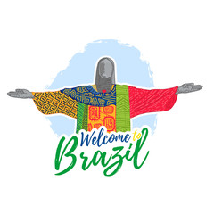 Banner, poster, sign, invitation Welcome to Brazil. A banner with the famous monument, a sculpture. Vector