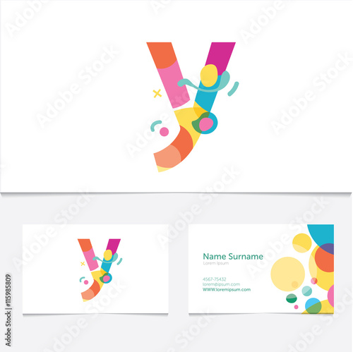 Creative letter y design vector template on the business card creative letter y design vector template on the business card templateabstract colorful alphabet reheart Images
