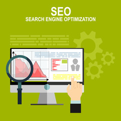 Flat web page design concept of search engine optimization service, SEO data analytics and keyword process.