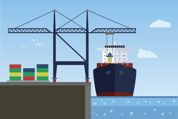 Cargo ship in the port. Crane loading ship. Vector illustration.