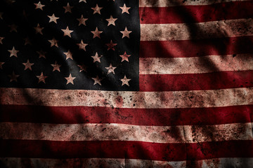 Background of grunge american flag with dirt and blood