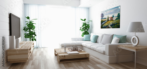 Soggiorno moderno con divano, televisore e parquet\