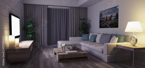 Soggiorno moderno con luci e divano di sera\