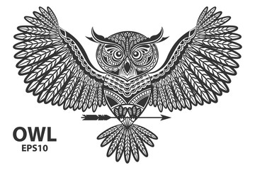 Vector illustration of owl. Ornamental owl. Ethnic illustration for coloring book, tattoo, poster, print, t-shirt.