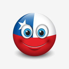Cute emoticon isolated on white background with Chile flag motive - smiley