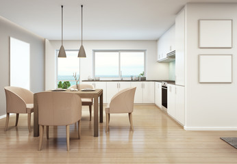dining room and kitchen in luxury house- 3D rendering
