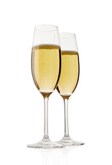 Two champagne glasses. Isolated on white background