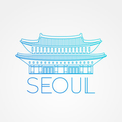 World famous Gwanghwamun Palace. Greatest Landmarks of Asia. Linear modern style vector icon symbol of Seoul, South Korea.