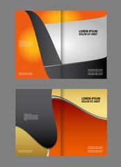 Vector empty bi-fold brochure print template blue design, booklet layout