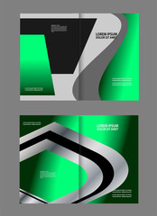 Black and green template for advertising brochure