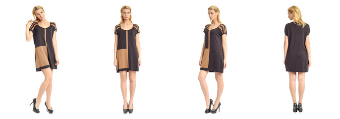 Fashion model wearing brown dress with emotions on white