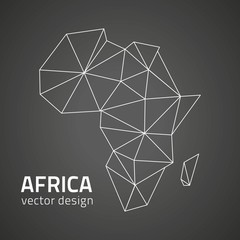 Africa black vector contour map