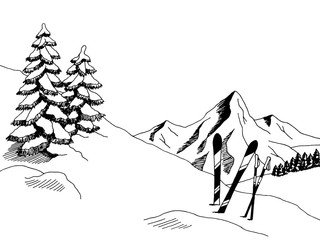 Mountain skiing graphic art black white sketch landscape illustration vector