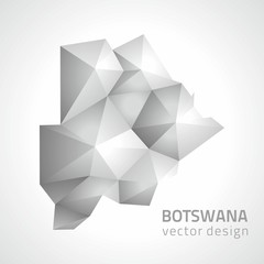 Botswana vector polygonal triangle grey map