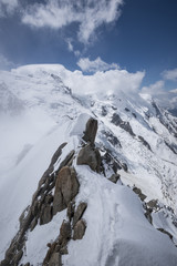 View of Mont Blanc massif from Aiguille du Midi, Chamonix, France