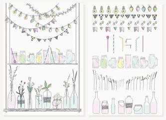 Set of bottles, jars, garlands, lamps and flags. Scandinavian st
