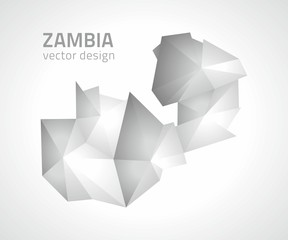 Zambia polygonal grey and silver map