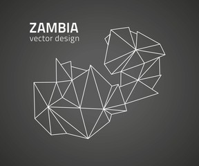 Zambia black vector contour map of Africa