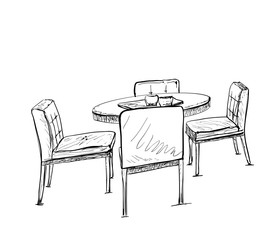 Furniture in summer cafe