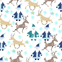 Vector seamless pattern. Hand drawn Christmas background. Happy New Year greeting card.
