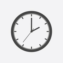 Clock icon, flat design. Vector illustration on white background