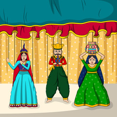 Rajasthani Puppet in Indian art style