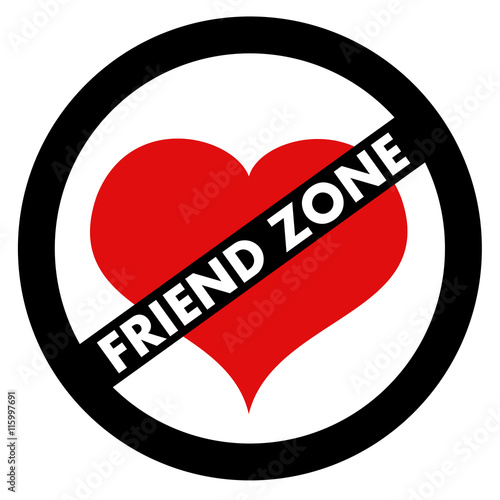 Crossed Out Red Heart In The Circle As Graphic Symbol Of Friend Zone