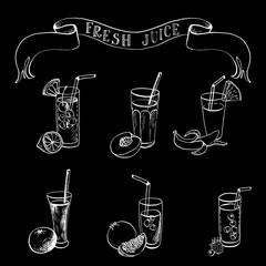 hand drawn set of fruit juice and freshes