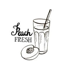hand drawn peach juice in glass