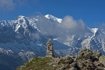 View of Mont Blanc from Lac Blank,Chamonix, Haute Savoie, France