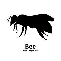 Vector illustration of a silhouette of a black bee