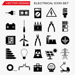 Electrical icon set, vector design