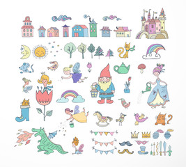 Collection of fairy tales hand drawn doodles, illustrations