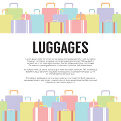 Many Luggages Travel Concept Vector Illustration.