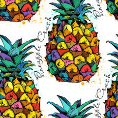 Seamless pattern with Image of the pineapple fruit. Vector illustration.