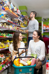Young women buying groceries