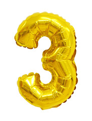 number 3 (three) from balloons