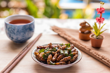 Fried insects - Wood worm insect crispy with pandan after fried