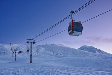 Gondola lift in the ski resort in the early morning