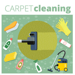 Carpet cleaning service vector illustration. Business concept