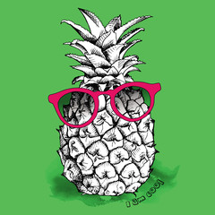 Image pineapple fruit in the glasses. Vector illustration.