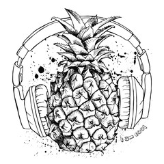 Image pineapple fruit with headphones. Vector black and white illustration.