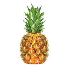 Pineapple in low poly art style. Vector illustration.