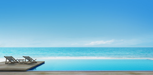 swimming pool near the beach with chair and coffee table on deck- 3D rendering