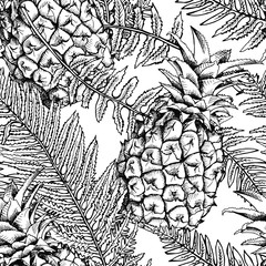 Seamless pattern with the image of a pineapple and fern leaves. Vector black and white illustration.