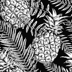 Seamless pattern with image of a pineapple and fern leaves. Vector black and white illustration.